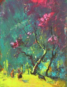Vicki McKoy- Chooks and Cherry blossom.